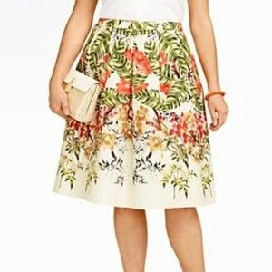 TALBOTS TROPICAL FLORAL LINEN PLEATED SKIRT 12P